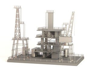 realistic 3d render of drilling rig
