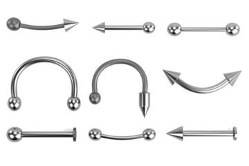 realistic 3d render of piercings