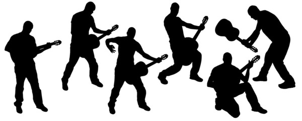 vector silhouette of guitarist