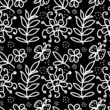 Black and white floral Doodles  Seamless Pattern