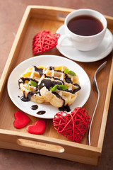 Belgian waffle with chocolate raspberry and hearts for Valentine