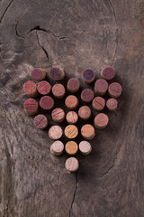 Heart made with wine corks.