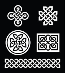 Celtic knots patterns on black background - vector