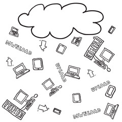 vector cloud computing sketch pattern