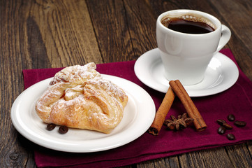 Sweet bun and coffee