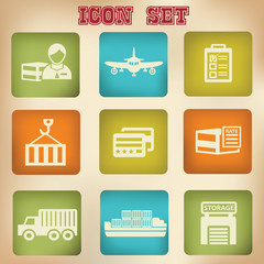 Logistic vintage icons,vector