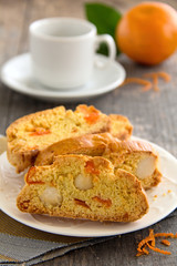 Fragrant biscotti with orange and macadamia nuts.