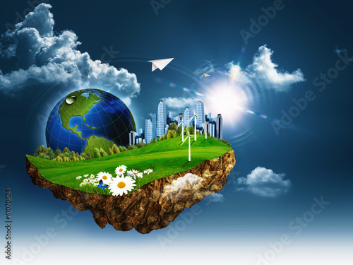 Flying island. Abstract eco and environmental concept
