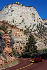 Car on the red road of Zion Park, USA