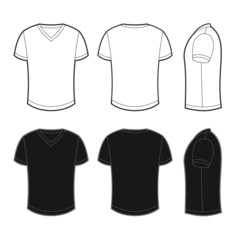 Front, back and side views of blank t-shirt