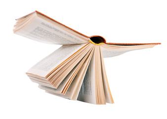 Open book in hardcover. Resembles a flying bird