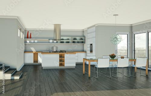 Moderne Küche mit Esszimmer