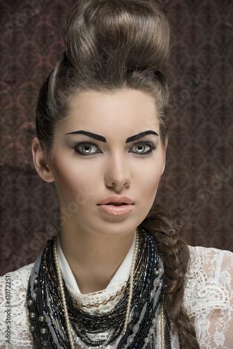 Foto op Canvas Kapsalon close-up female fashion portrait