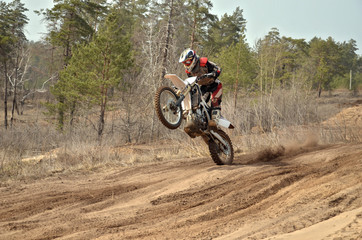 MX racer standing in motion performed a wheelie