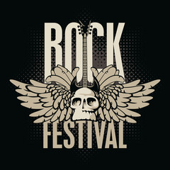 poster for a rock festival with skull, guitar and wings
