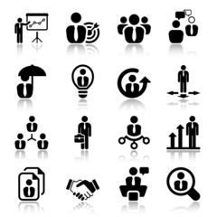 flat business iconset in black with reflex