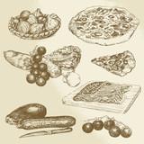 italian food, hand drawn set - pizza, vegetables - 61073645