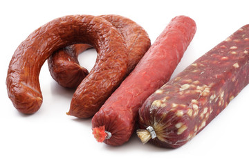 smoked sausage over white