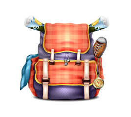 Vector Realistic Travel Backpack