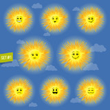 sunny faces emoticon character set 01