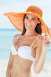 Happy Woman At Beach In Bikini