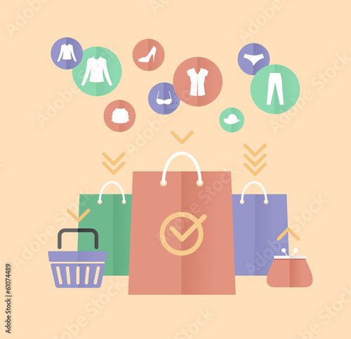 Vector shopping bags and clothes flat concept