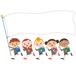 新入学の子供達と旗