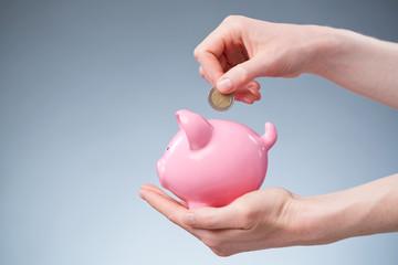 Euro Savings - Coin in a Piggy Bank