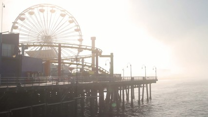 Fog at Santa Monica Pier, End Of Route 66 Los Angeles (Cities)