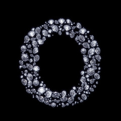 3D Diamond letter O on black isolated with clipping path