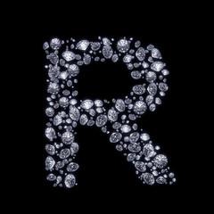 3D Diamond letter R on black isolated with clipping path