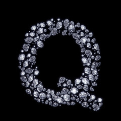 3D Diamond letter Q on black isolated with clipping path