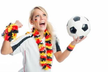 Fußballfan mit Fußball