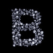 3D Diamond letter B on black isolated with clipping path