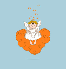 Angel in love sits on cloud.