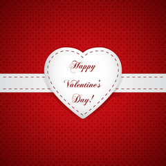 Vector paper Valentines day card with heart sign