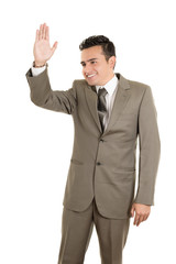 hispanic business man waving, isolated