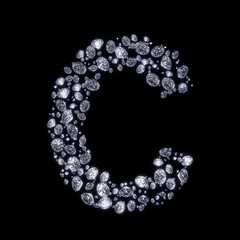 3D Diamond letter C on black isolated with clipping path