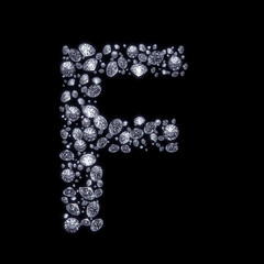 3D Diamond letter F on black isolated with clipping path