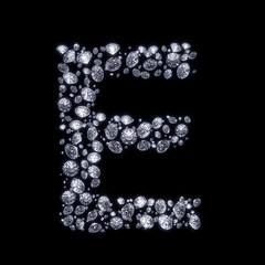 3D Diamond letter E on black isolated with clipping path