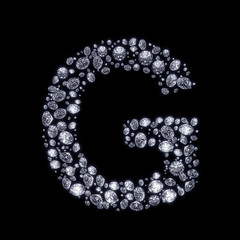 3D Diamond letter G on black isolated with clipping path