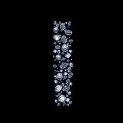 3D Diamond letter I on black isolated with clipping path