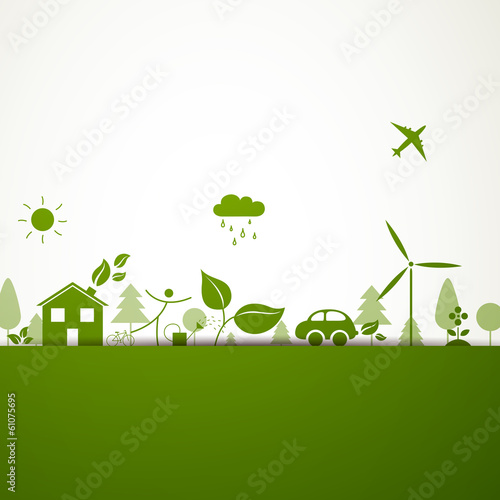 Vector Illustration of a Green Ecology Background