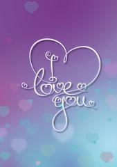 Valentines Card - I Love You - Purple Blue