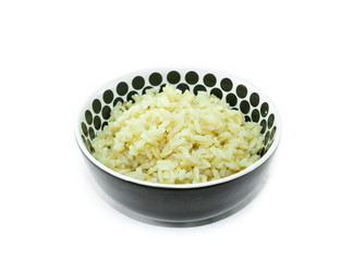 Organic rice in bowl  on white background