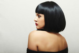 Sexy Back of Beautiful Brunette Woman.bob Haircut.Retro Lady