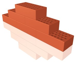 Ziegelsteine - kleine Mauer