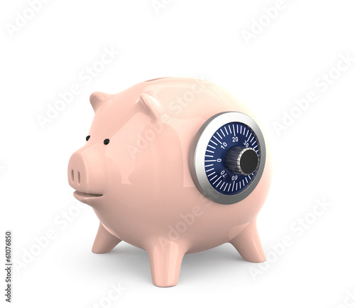 Piggy bank with combination dial for financial security concept