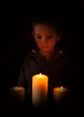 boy candlelight