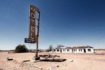 Hotel sign ruin along historic Route 66